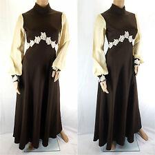 Vintage 1970 s robe longue Marron & Cream Bell Manches Haut Col De Dentelle-Taille 10