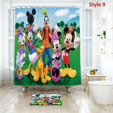 Good!Disney Design Shower Curtain & Bath Mat With Polyester Fabric Waterproof