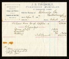 1887 Bill head J S Twombly Commission Merchant Boston, Apples, Gilmore Co. NH