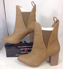 NEW NOMAD Faux Tan Brown Leather Boots Size 7 Bootie Heels Women's Ankle Shoes