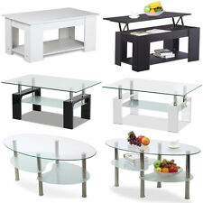 NEW White Black Coffee Table MDF Lift Up Top Safety Glass Tabletop