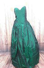 Vintage 1980's Emerald green long Taffeta Ball Gown Dress sz 13 14 Sleeveless