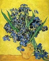 "Vincent Van Gogh *FRAMED* CANVAS ART Still life with Irises 16""X 12"""