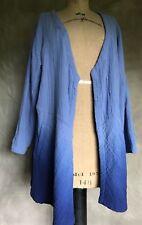 Soft Surroundings Blue Gauze Ombre JACKET Open Shirt Top Cardigan P M POCKETS