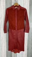 Temperley London Red Leather Suede Long Popper Jacket Made in England Size 8