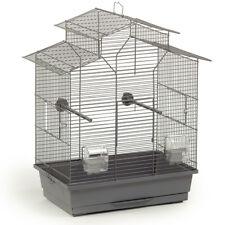 Vogelkäfig Vogelhaus Wellensittich Kanarien Sittich 'Pagode' 45x28x60 cm grau