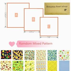 Beeswax Wraps 3 Pack Eco Friendly Kitchen Organic Natural Reusable Mixed Pattern