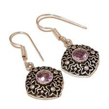 Pink Tourmaline Gemstone silver plated Handmade Oxidized Bezel Boho Earrings