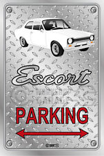 Parking Sign Metal FORD ESCORT MK1  2DOOR White - Checkerplate Look