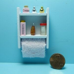 Dollhouse Miniature White Bathroom Wall Cabinet with Accessories B0456