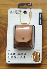 Penguin Vegan Leather Case For Airpods 1st Gen & Airpods 2nd Gen Tan New