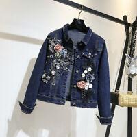 Autumn Denim Jacket Womens 3D Flower Denim Jeans embroidery Coat Outwear blue