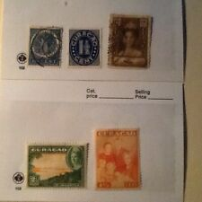 Curacao, five vintage stamps, three used pre WWII, two mint.