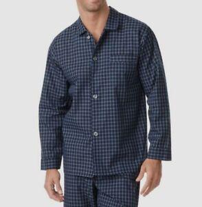 $62 Club Room Men's Blue Check Pajama Button Shirt Warm Collar Sleepwear Size S