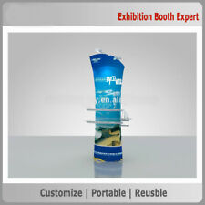 Fabric Banner Oblique Angle Stands with shelves for trade show display booth