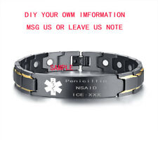 Men Medical Alert ID Health Bangle Magnet Bracelet Energy Therapy Free Engraving