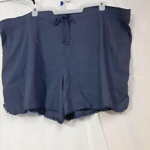 terra&sky Soft Linen Viscose Shorts Blue Plus Size 4X