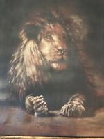 Large 19thC Antique N.G. JENNINGS Oil On Canvas Painting Magnificent Lion
