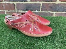 K CLARKS SIZE UK 6 EU 39 RED BROWN LEATHER SLINGBACK FLAT/LOW HEELS SANDALS