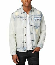 I-N-C Mens Ripped Faded Jacket, Blue, X-Large