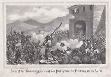 FRIBURGO REVOLUTION 1848 Originale Litografia Lohse 1848