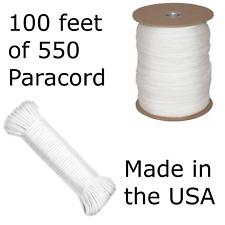 100 Feet of 550 Paracord Type III Nylon Parachute Cord Utility Cord White