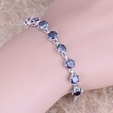Rainbow Topaz & White Topaz Silver Link Chain Bracelet 6.5 inch For Women S0473