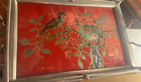 🕊Vintage Reverse Glass Painting Abalone Shell Baby Bird Motif Vintage Aesthetic