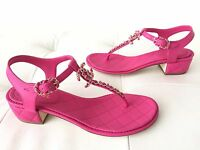 2016 CHANEL FUCHSIA HOT PINK QUILTED LEATHER CC LOGO THONG SANDALS 39