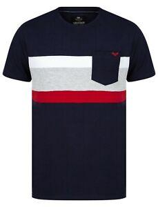 New Men's Cotton Contrast stripe Panel Front Pocket Short Sleeve T-shirt Tee Top