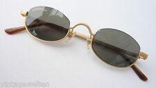ausgefallene Alpina kleine Gläser Sonnenbrille dunkle Tönung  gold Unisex size M