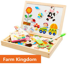Kids Wooden Jigsaw Magnetic Board Puzzle Games Multi-functional Educational Toys