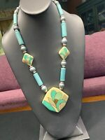 """Bib Statement Necklace Ceramic Beads And Pendant 22"""" Made In Japan"""