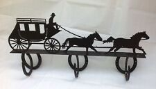 Stage Coach Metal Wall Coat Rack Hanger American Vintage Old West Horse Shoe