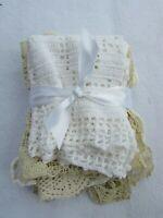 Lot 5 Vintage Doilies Doily Crochet  Crocheted Cotton 30404 Ecru Ivory Lace