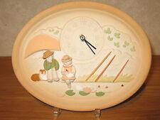 LAFOND CREATIONS *NEW* Horloge en grès décoré La Pêche coul.sable