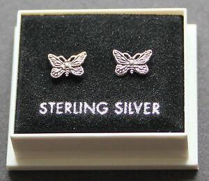 STERLING SILVER 925, BUTTERFLY STUD EARRINGS, WITH BUTTERFLY BACKS, STUD 163