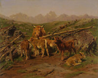 "Rosa Bonheur, 1879, antique print, Cow, Calves, Landscape, 17""x13"" CANVAS ART"
