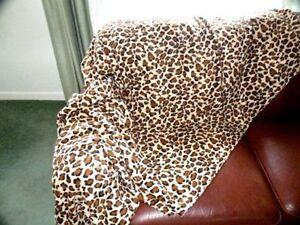THROW BROWN LEOPARD PRINT NEW Fleece Soft Warm Snug Sofa blanket washable 3sizes