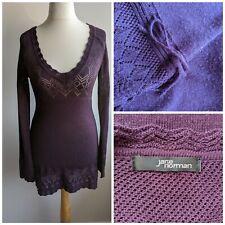 Jane Norman Purple Knit Crochet Tunic Jumper Dress Top Size 12
