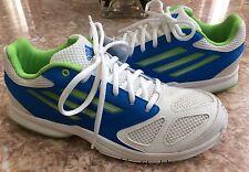 Adidas Feather Team 2 Men's White Blue Green Handball Shoes Size 7.5 #G96456 EUC