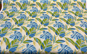 Swavelle Wind Blown Leaves Sunsplash Blue Green Outdoor Fabric By The Yard