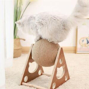 Cat climbing frame hemp rope Grind the claws Scratching post Wooden ball toy
