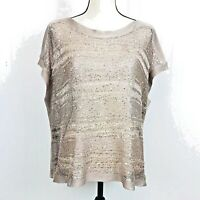 NWT Forever 21 Womens Sequined Bling Short Sleeve Shirt Top Sweater Size Medium