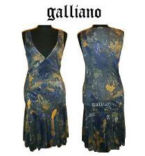 JHON GALLIANO ~ Iconic paper Print V neck Dress ~ size: M ; 44 * AUTHENTIC