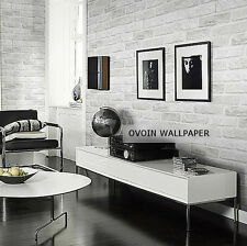 3D Brick Wallpaper White Metallic Stamped Textured Thick Paper Roll