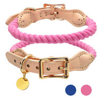 Luxury Soft Leather & Braided Rope Dog Collar with Personalized ID Tags Engraved