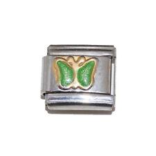Green Sparkly Butterfly Italian Charm - fits 9mm classic Italian charm bracelets