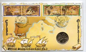 Gibraltar 1992 Columbus £2 coin in FDC. Very fine. Uncirculated coin.