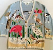 Design Options Women's Beach Ocean Birds Flamingo Cardigan Sweater Size XL